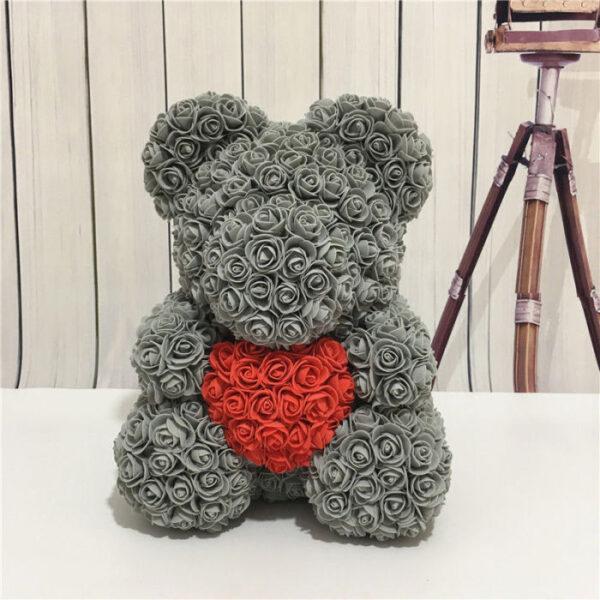 rosen bär grau mit rotem herz  rosenbaerch